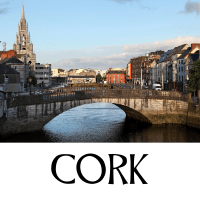 A picture of Cork city with text underneath denoting the name of the city