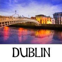 A picture of Dublin city with text underneath denoting the name of the city