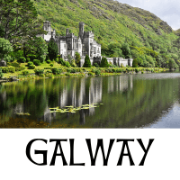 A picture of Kylemore Abbey in County Galway with text underneath denoting the name of the county