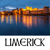 A picture of Limerick city with text underneath denoting the name of the city