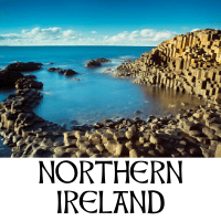 A picture of the Giant's Causeway in Northern Ireland with text underneath denoting the name of the region
