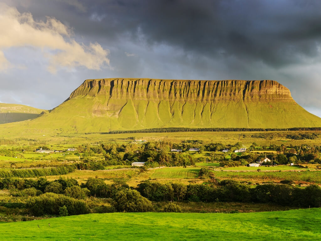 A landscape view of Benbulbin, a flat-topped mountain in County Sligo, Ireland