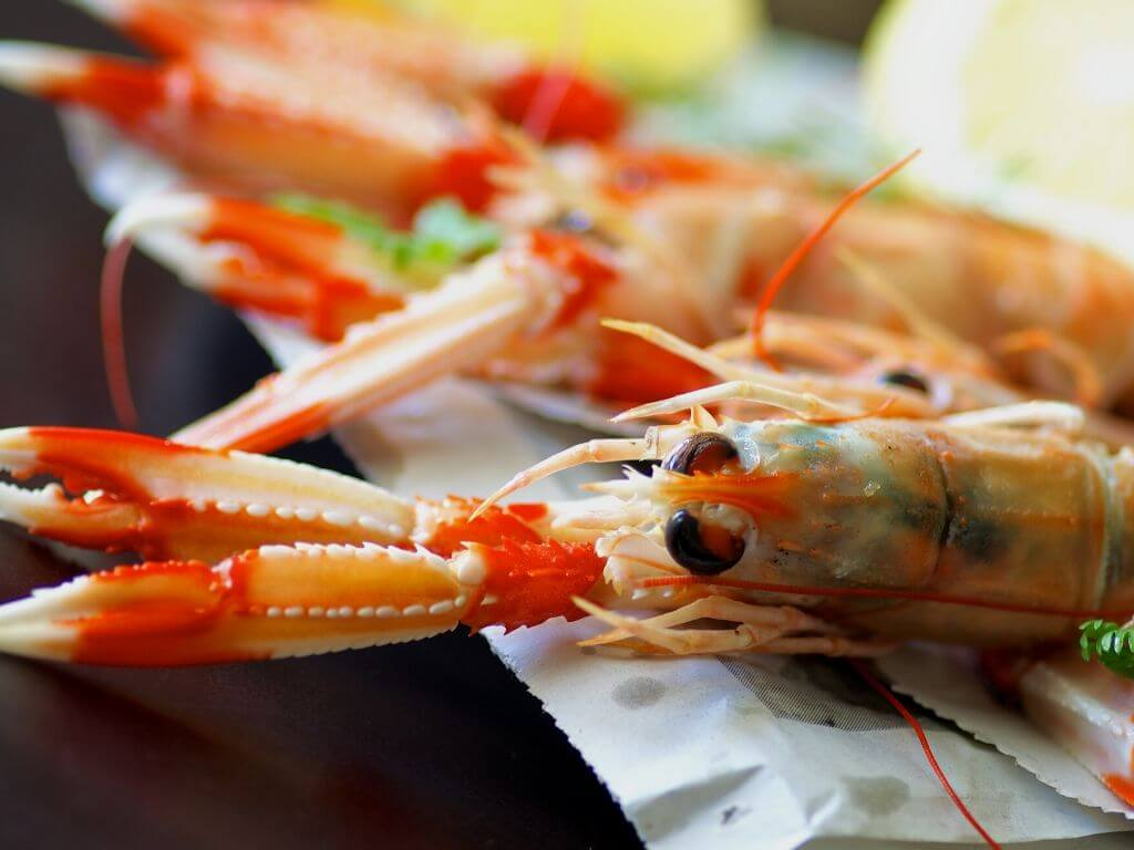 A picture of huge Dublin bay Prawns on a plate to celebrate the Dublin Bay Prawn festival