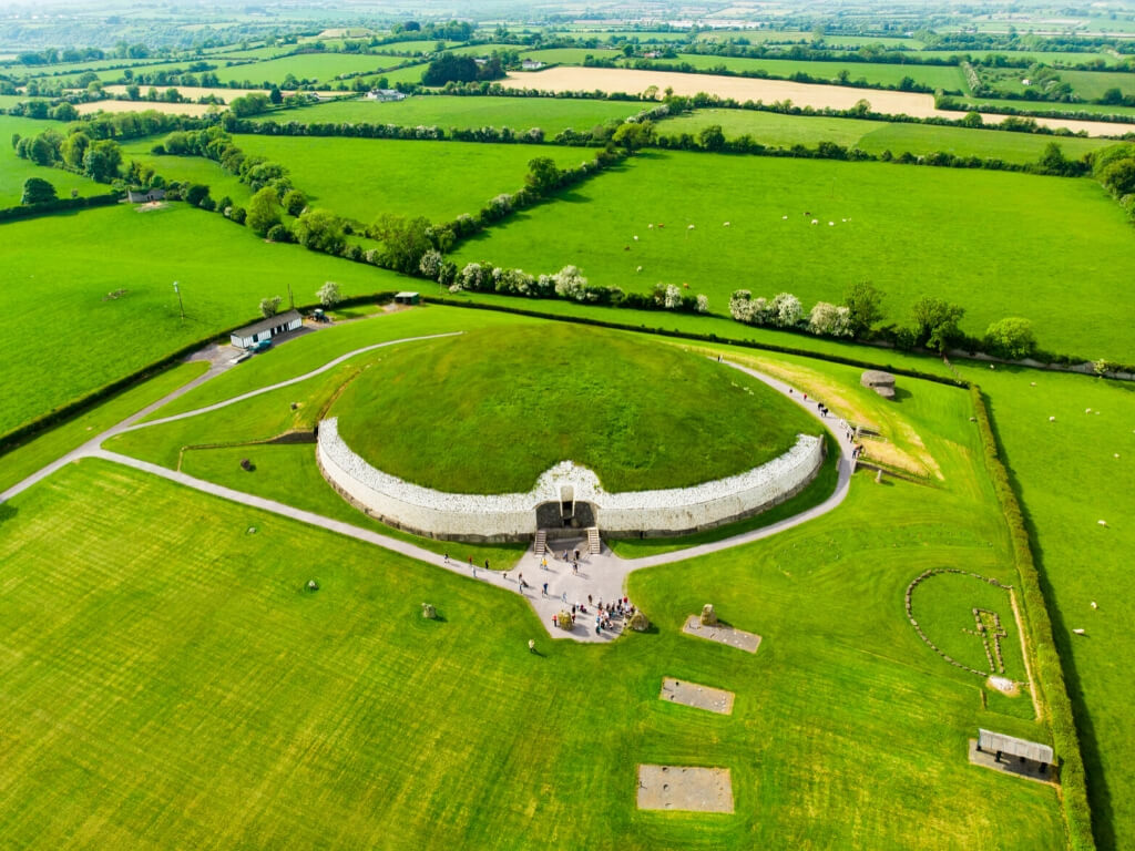 An aerial view of the Newgrange tomb passage mound in the Boyne Valley, or Bru na Boiine in County Meath, Ireland
