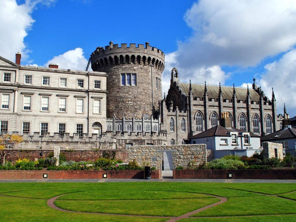 A picture of Dublin Castle with blue skies behind it