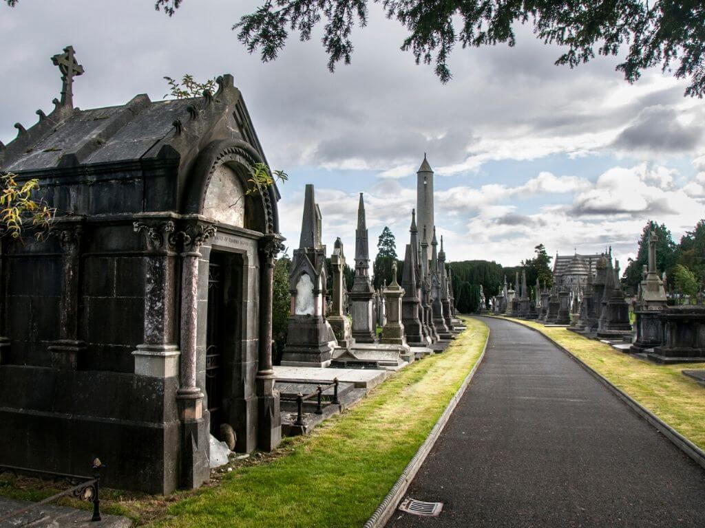 One of the walkways in Glasnevin Cemetery in Dublin, Ireland