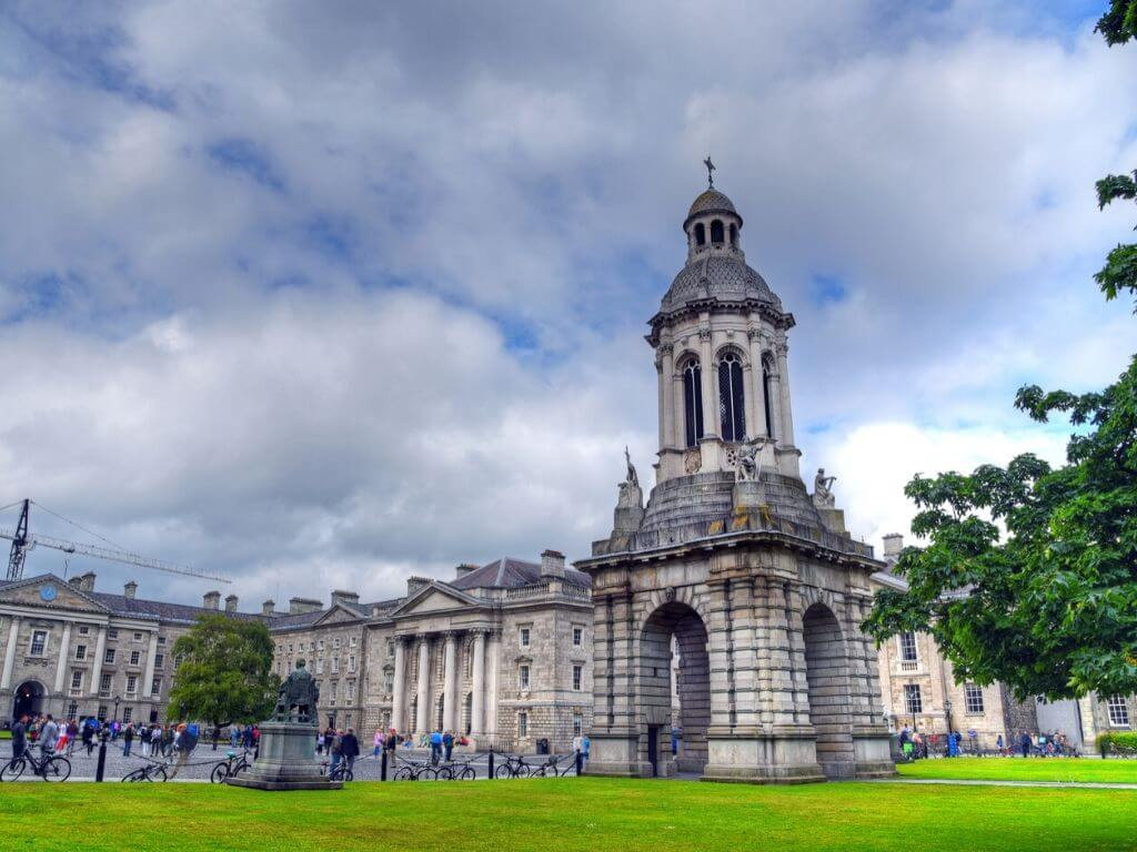 A picture of the Campanile tower in the grounds of Trinity College, Dublin, Ireland
