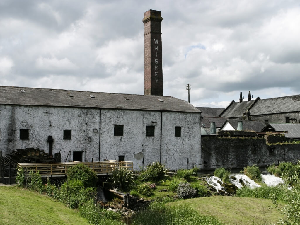A picture of the exterior of the Irish Whiskey distillery in Kilbeggan