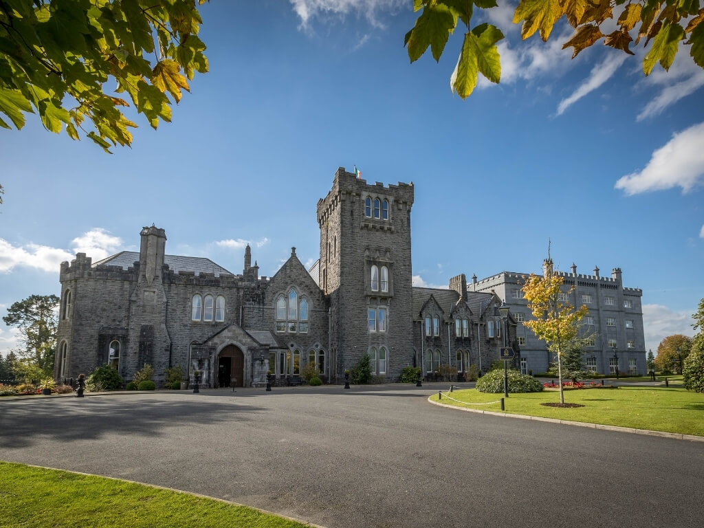 An exterior picture of Kilronan Castle, one of the best Irish castles to stay in