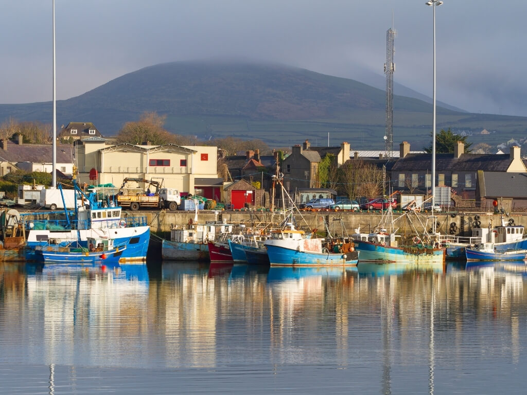 A picture of Dingle Harbour in County Kerry with boats moored along the quayside