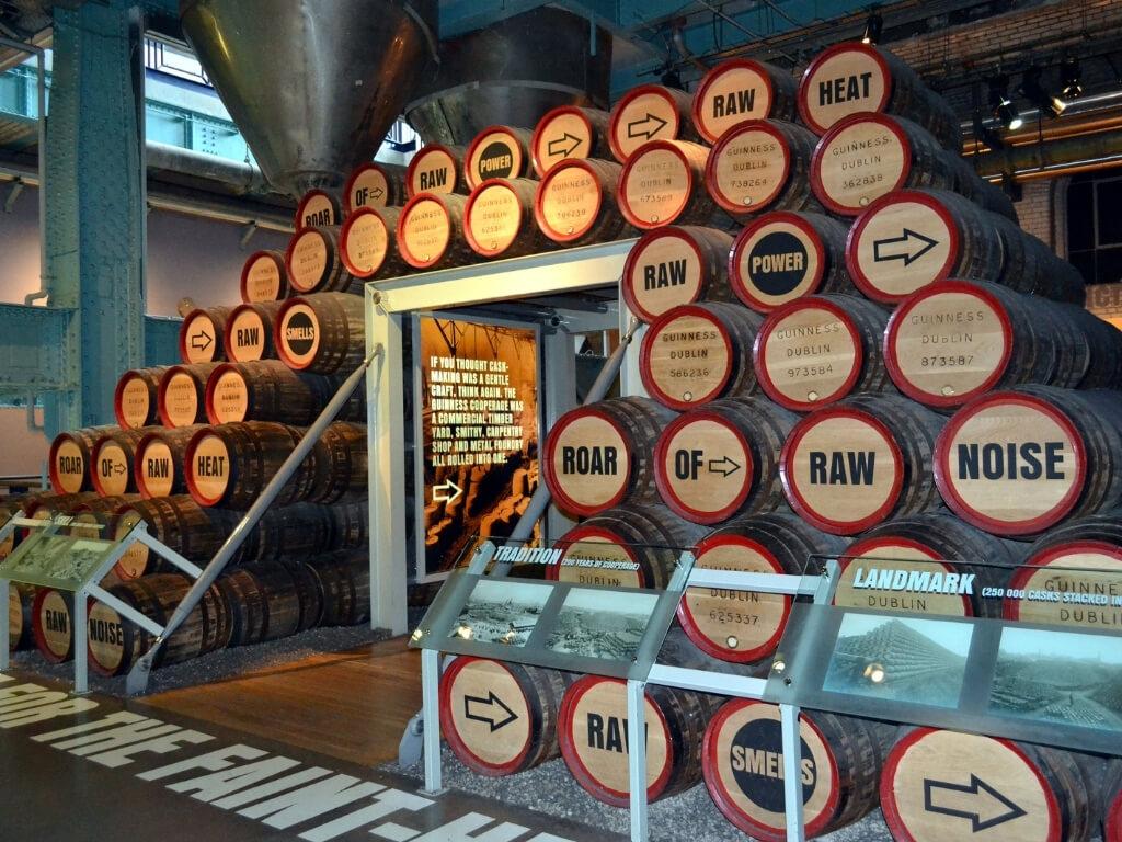 Barrels piled high in the Guinness Storehouse in Dublin, Ireland
