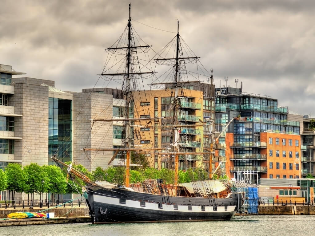 A picture of the Jeanie Johnston Tallship in Dublin's docklands, a replica Famine ship