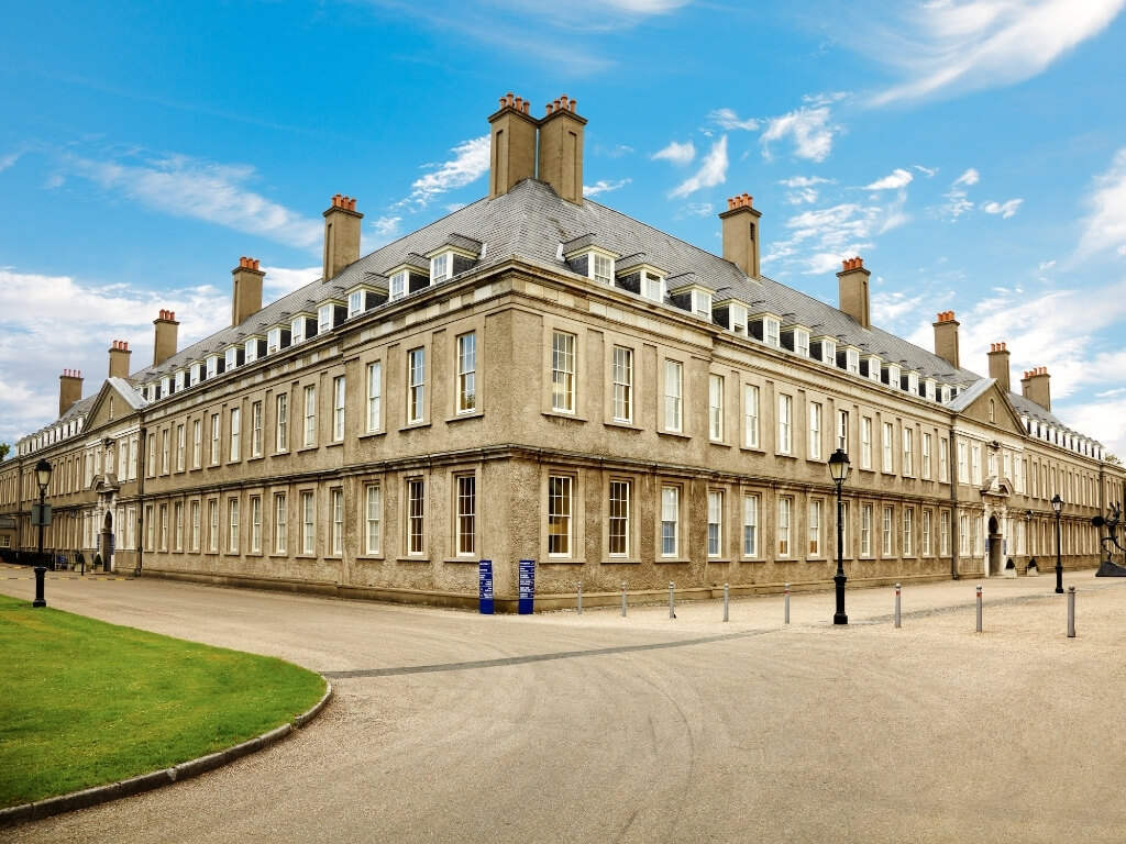 A picture of the Royal Hospital Kilmainham in Dublin with blue skies above it