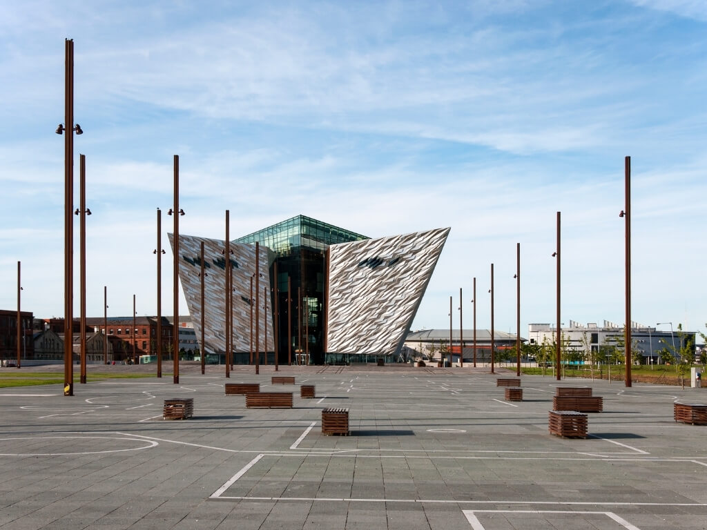 A picture of the exterior of the Titanic Belfast building