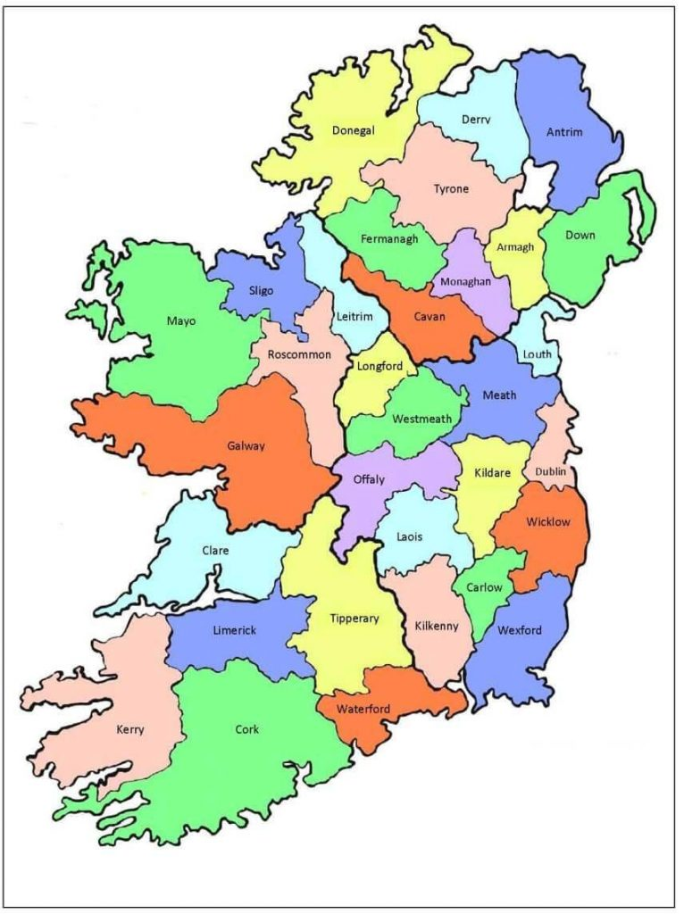 A map of the 32 counties of Ireland