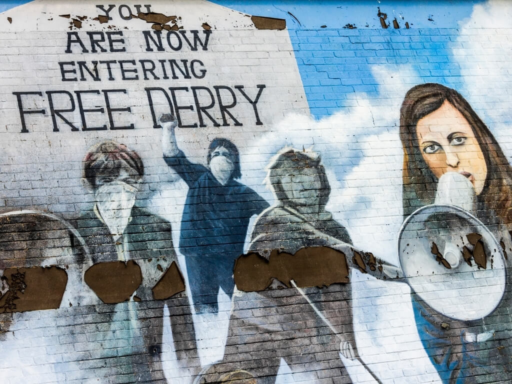 """A picture of the """"You are now entering Free Derry"""" political mural in the city in Northern Ireland"""