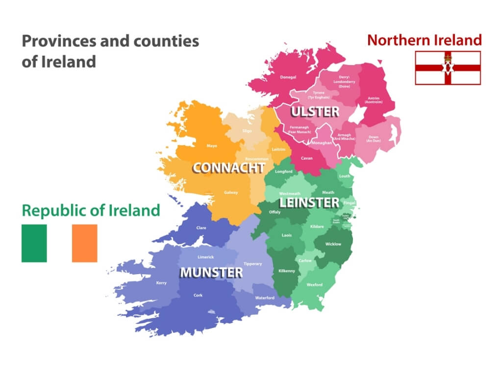 A graphical presentation of the 32 counties of the island of Ireland and the four provinces