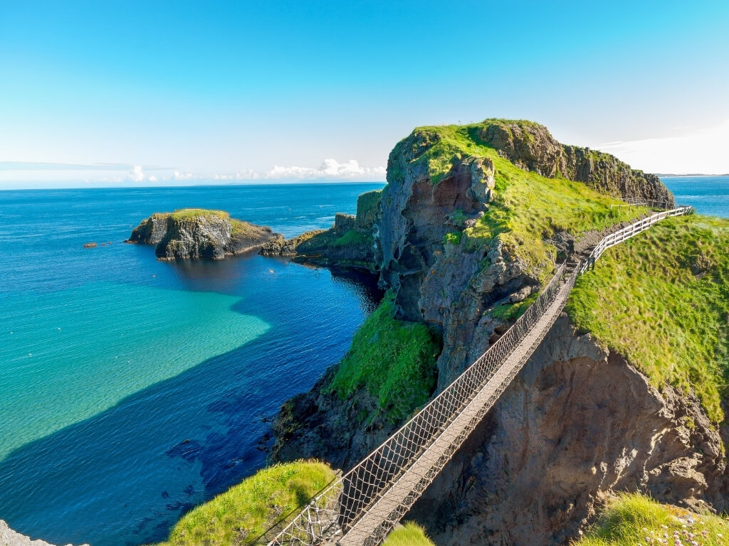 A picture of the Carrick-a-Rede Rope Bridge on the Causeway Coast in Northern Ireland