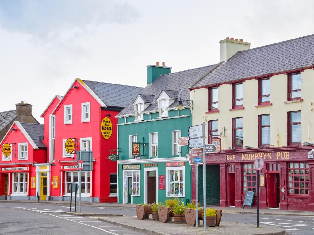 A picture of the colourful building along a street in Dingle, Ireland
