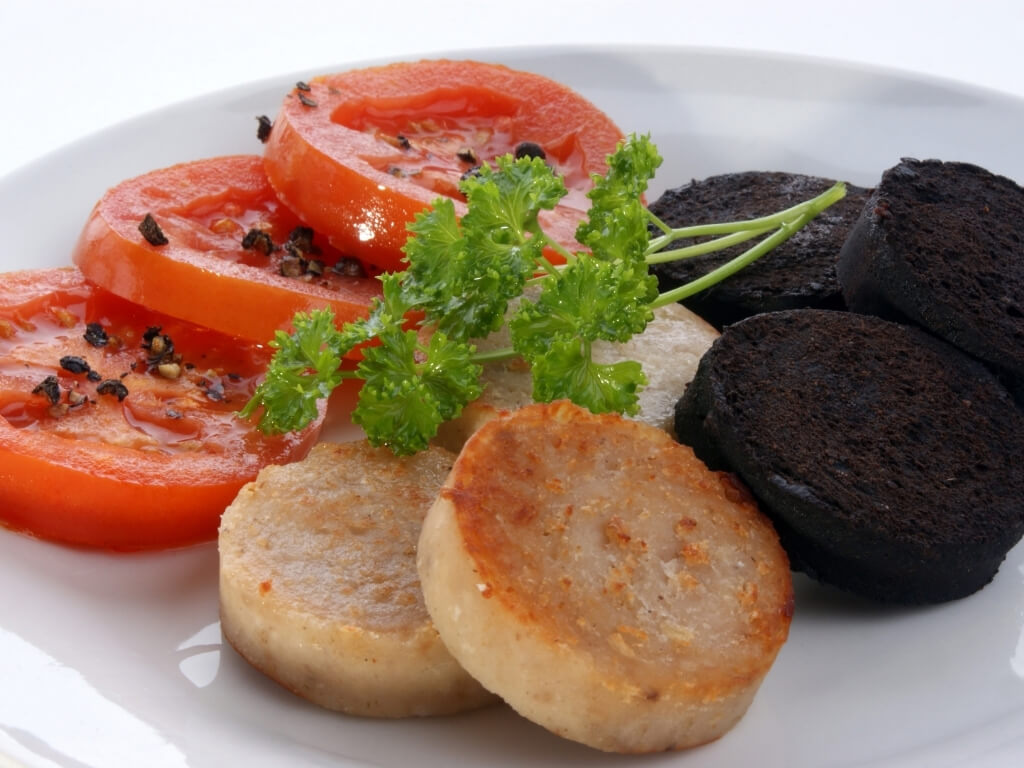A picture of a plate containing black and white pudding, and grilled tomato