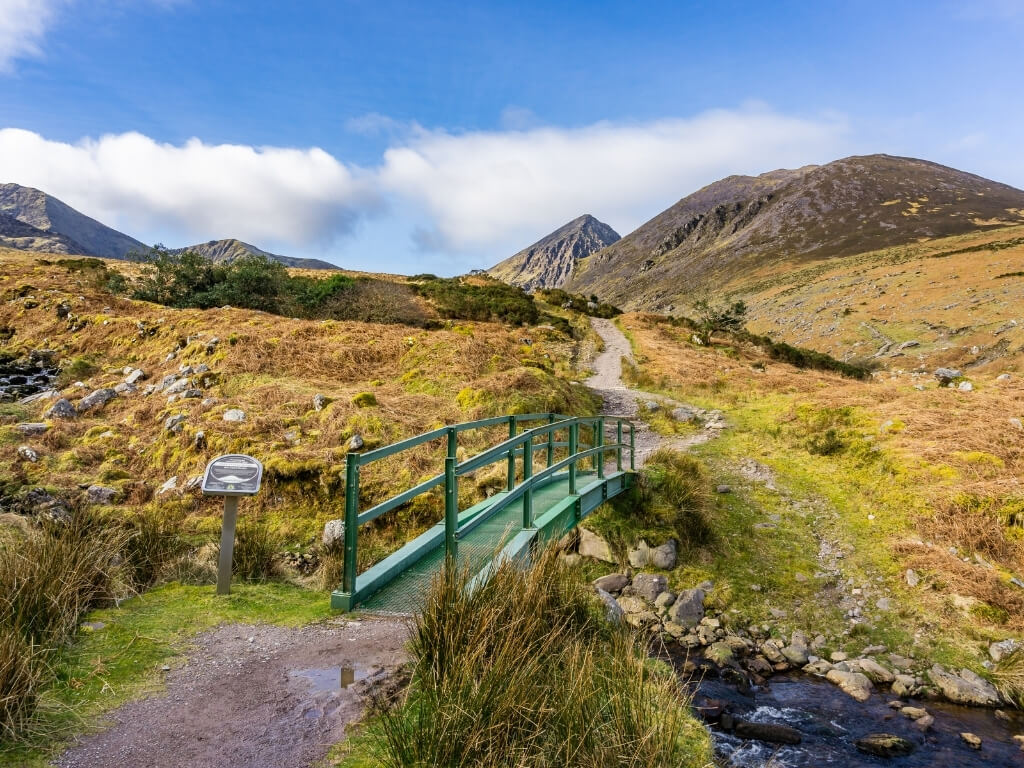 A picture of a bridge over a stream on the route towards Carrauntoohil, Ireland's highest mountain peak
