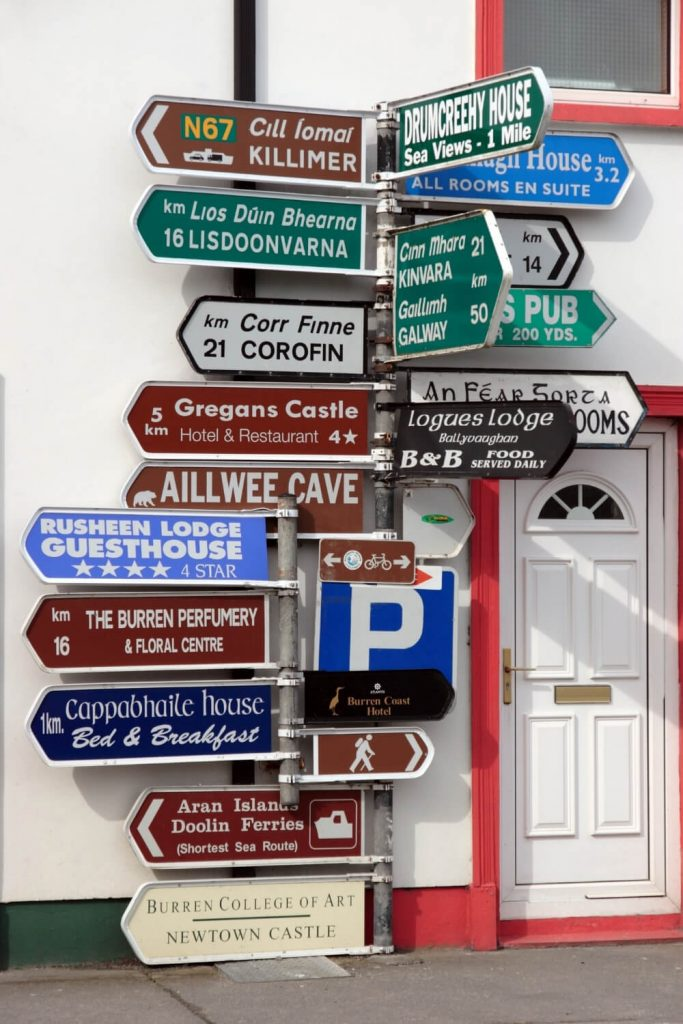 A picture of Irish road signs in a town in County Clare