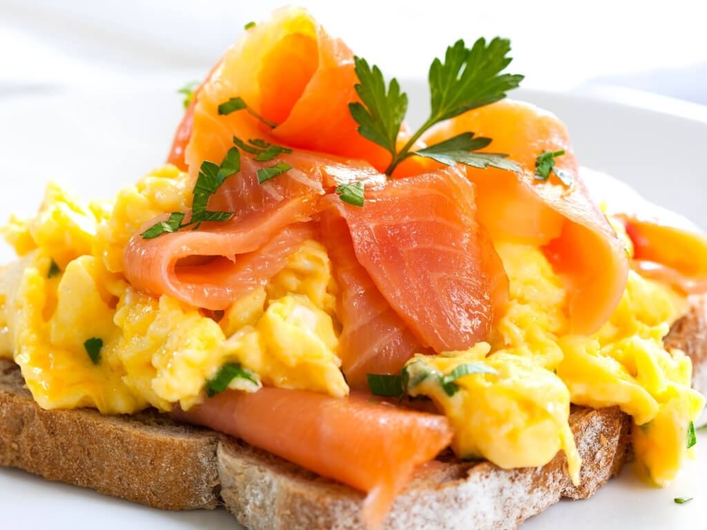 A picture of smoked Irish salmon with scrambled egg on toast