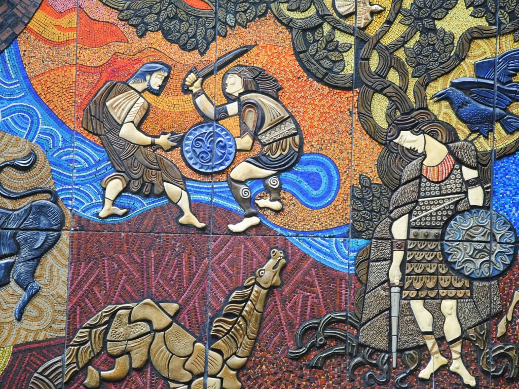 A close-up of the Tain Bo Cuailgne mosaic in Dublin