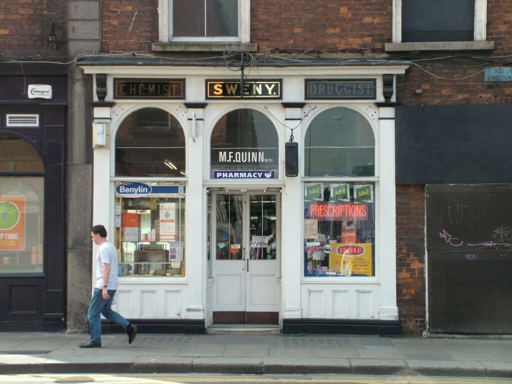 A picture of the shop front of Sweny's Pharmacy in Dublin, made famous in the James Joyce novel, Ulysses