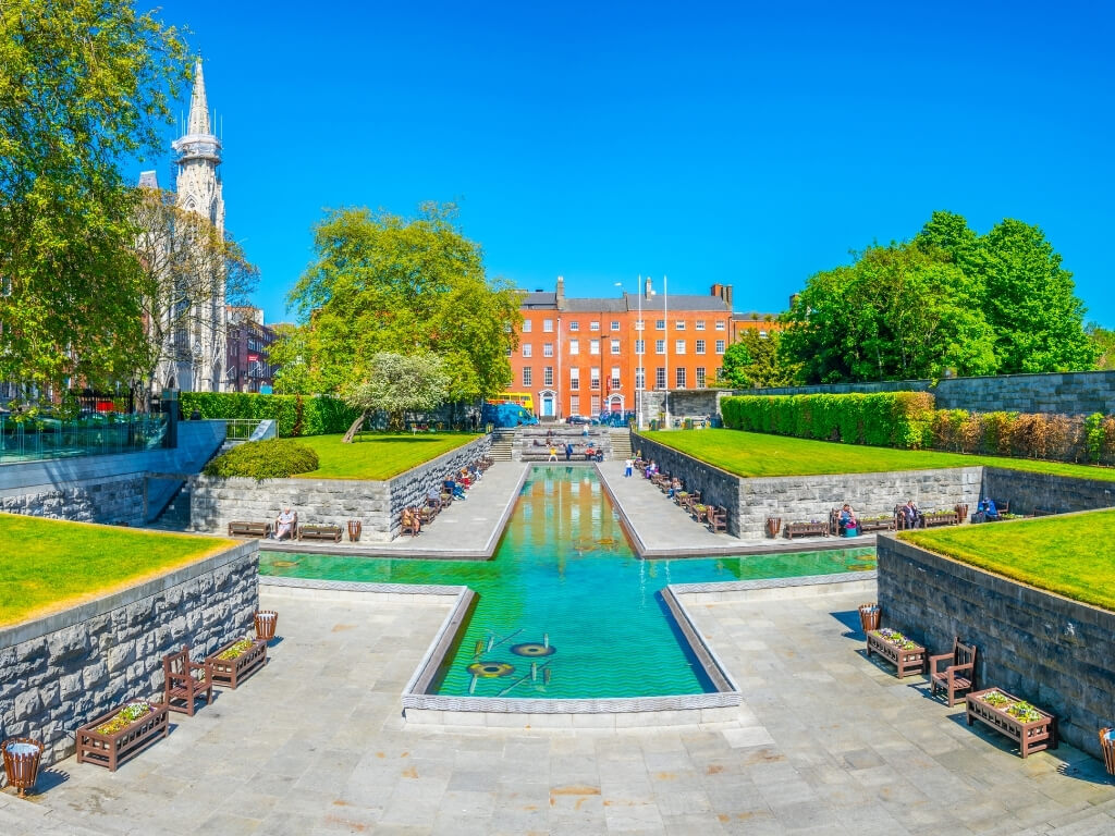 A picture of the cross water-feature in the Garden of Remembrance, Dublin