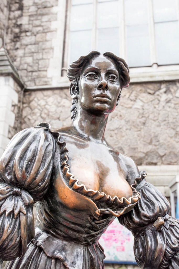 A close-up picture of the Molly Malone statue in Dublin