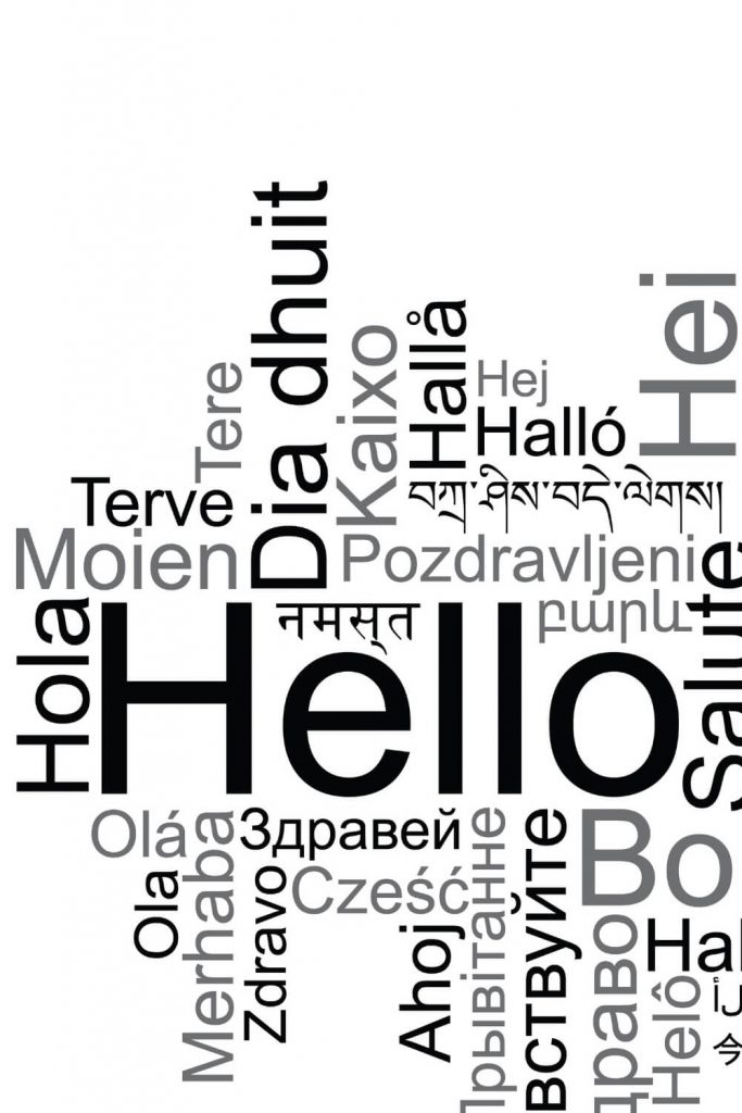 A graphic with the word Hello in various languages