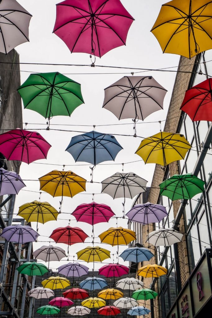 A picture of colourful umbrellas strung across buildings in Dublin in the air