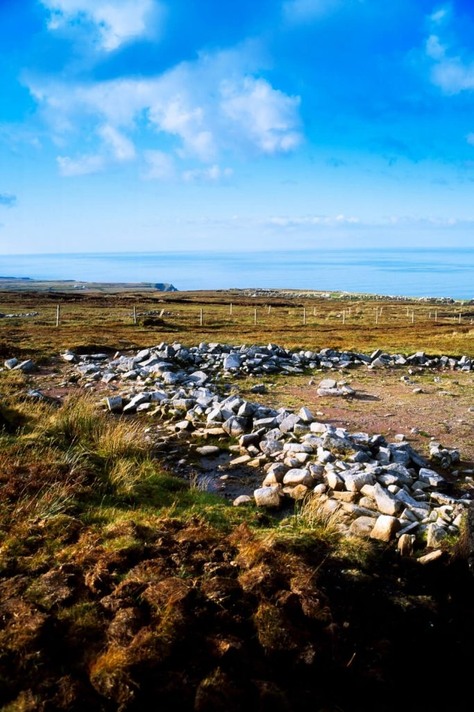 A picture of part of the Ceide Fields in County Mayo, extensive Stone Age field systems