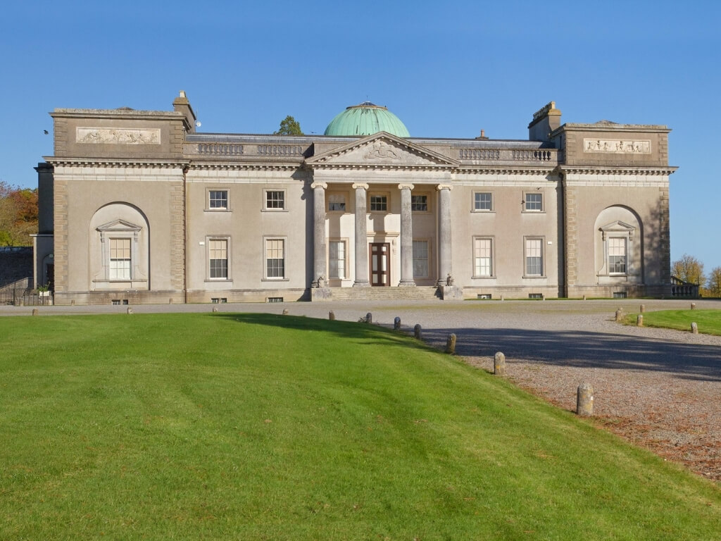 A picture of Emo Court with its green dome in County Laois, Ireland