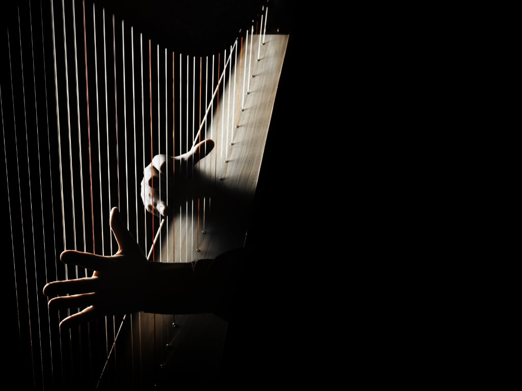 A dark picture of someone playing a harp