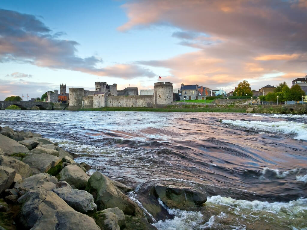 A picture of King John's Castle in Limerick from across the River Shannon