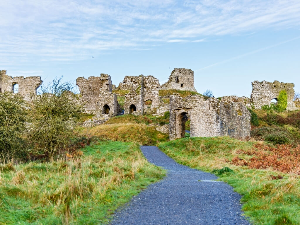 A picture of the entrance to the ruined castle complex of the Rock of Dunamase