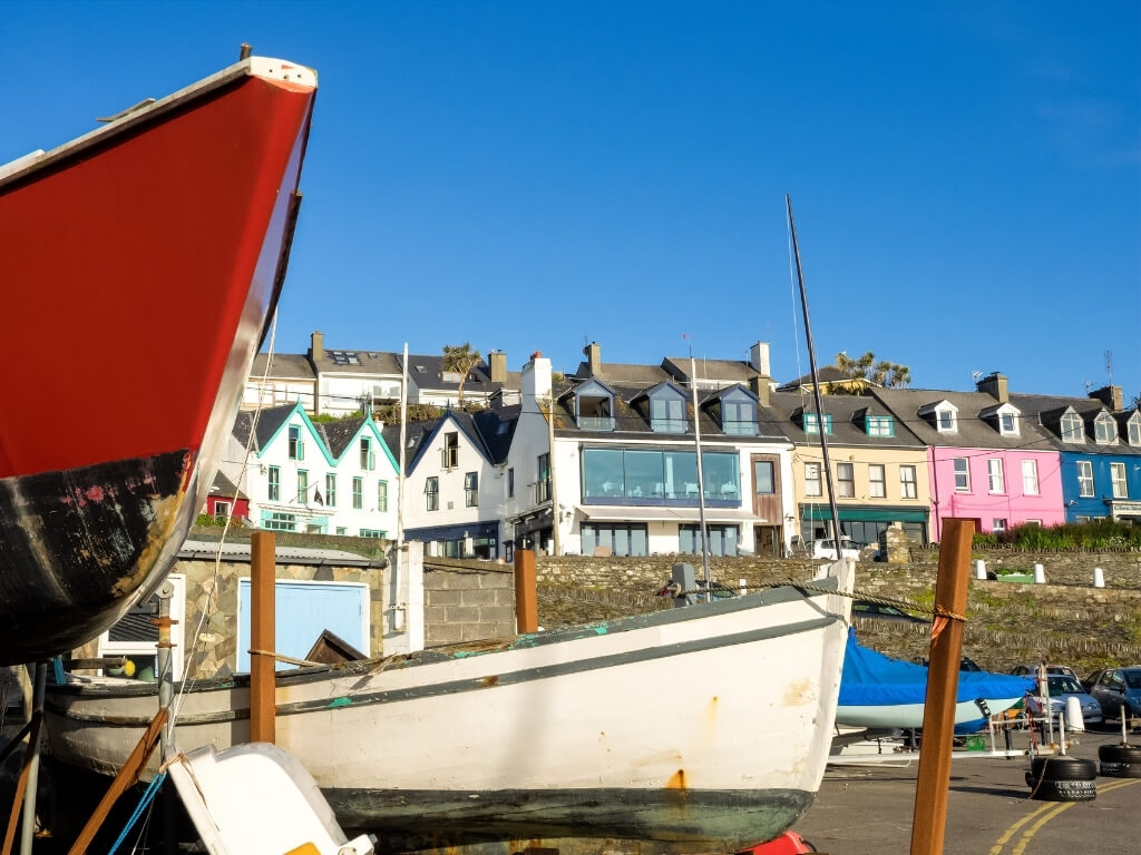 A picture of the colourful houses lining the harbour at Baltimore, County Cork