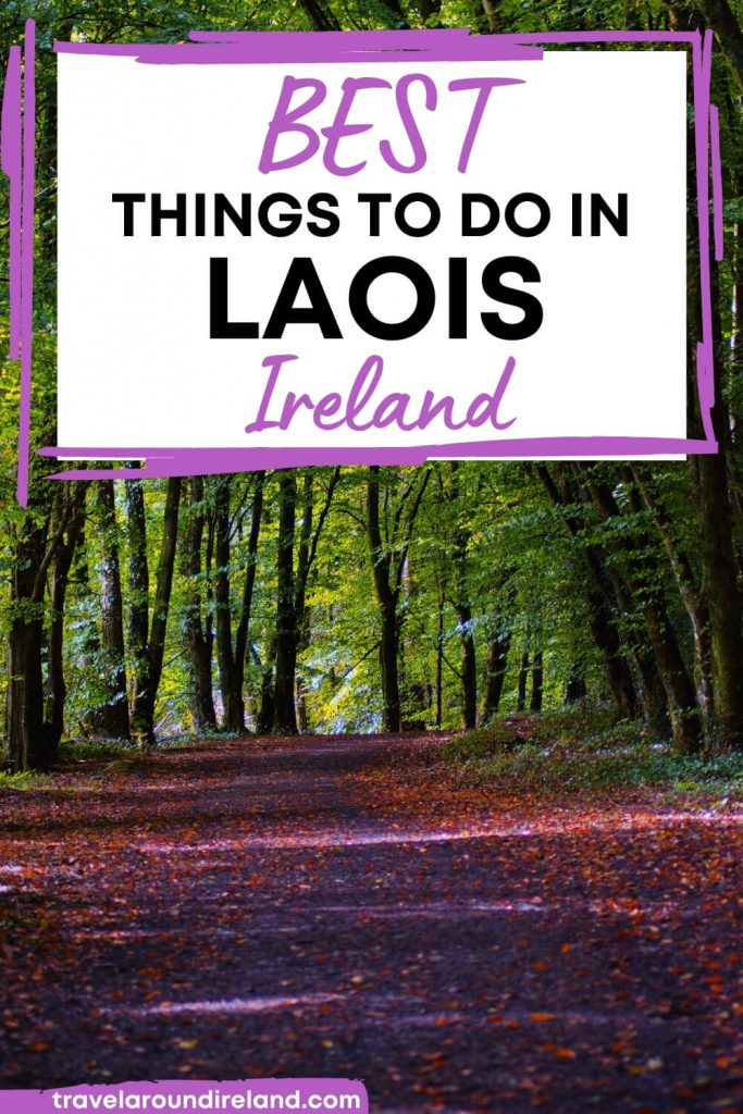 A picture of a woodland track with text overlay saying Best Things to Do in Laois, Ireland