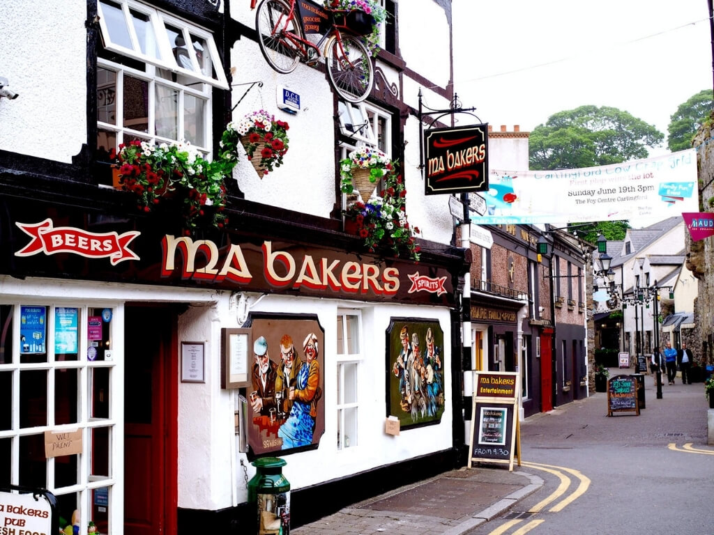 A picture of Ma Bakers pub in Carlingford, one of the best coastal towns in Ireland