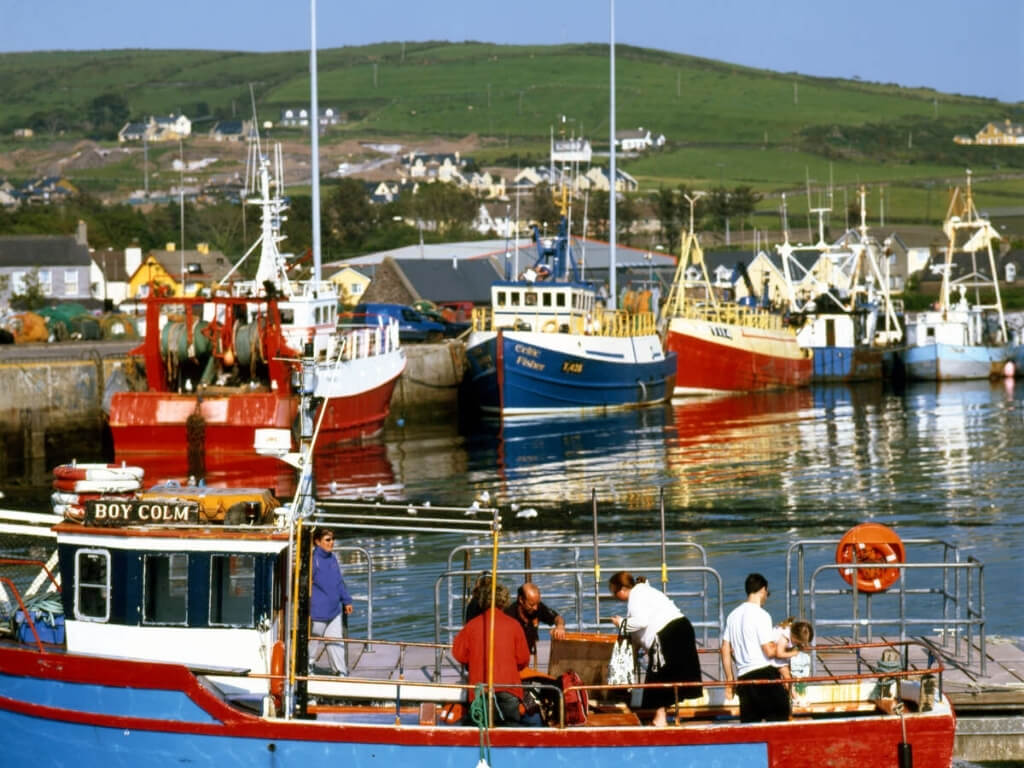 A picture of the colourful fishing boats in Dingle Harbour, Kerry, Ireland