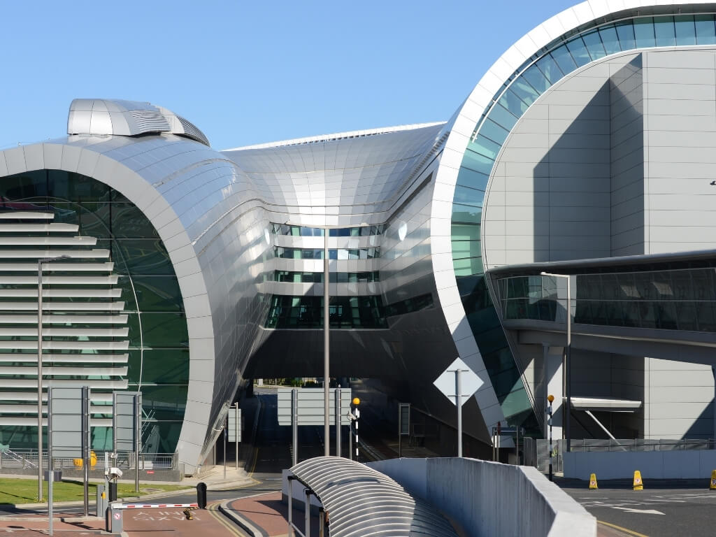 A picture of one of the terminal buildings at Dublin Airport