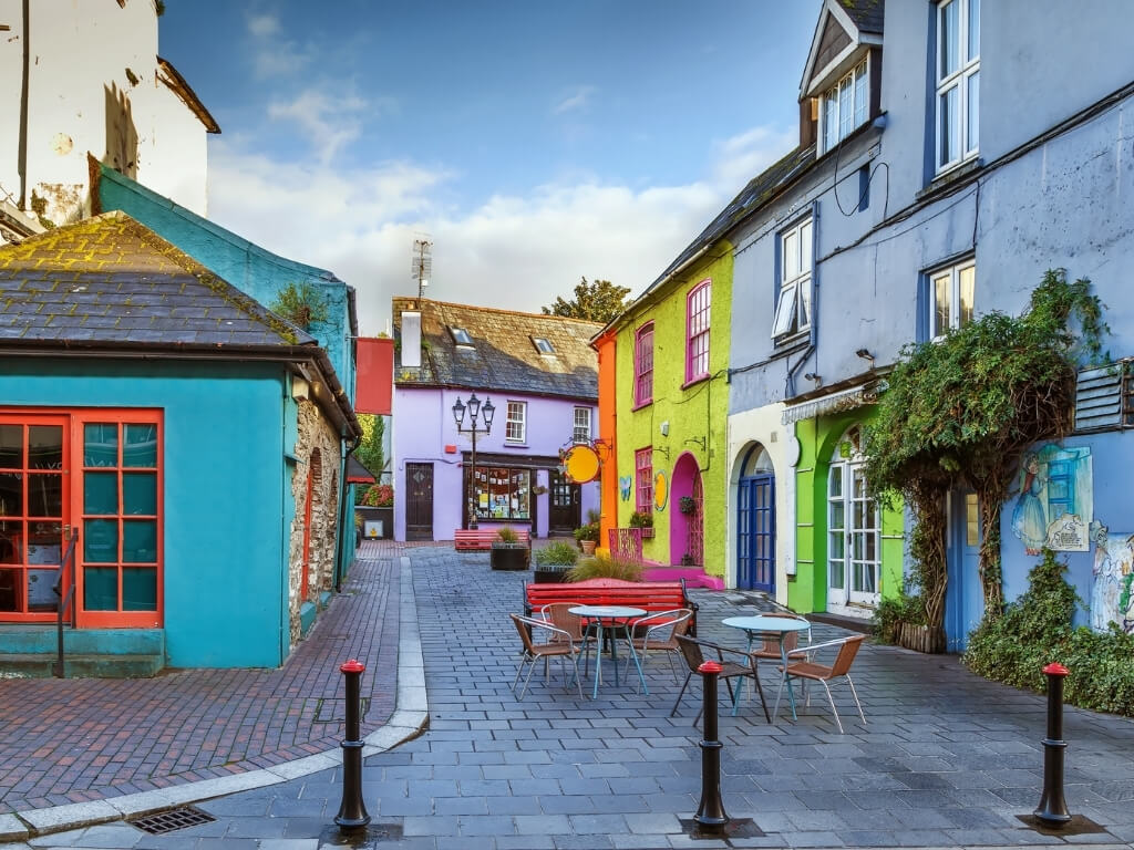 A picture of the colourful buildings along a street in Kinsale, County Cork