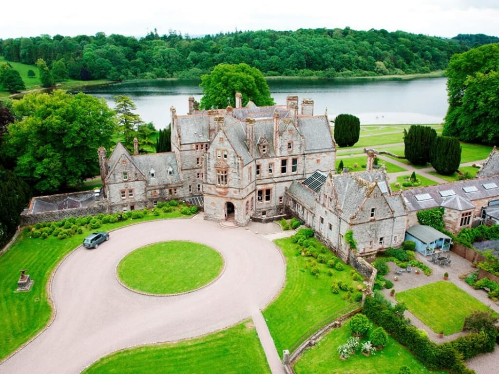 An aerial picture of Castle Leslie in Monaghan, one of the best castle hotels in Ireland