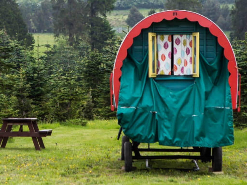A picture of one of the colourful horse caravans at Clissmann