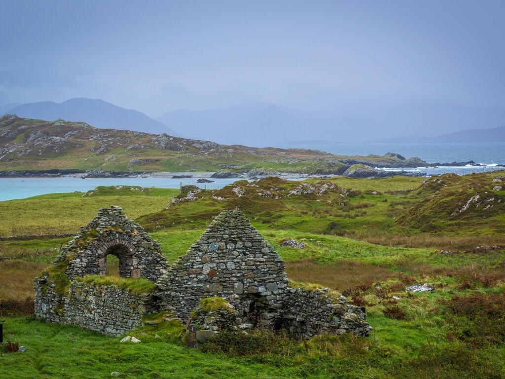 A picture of a ruined church on Inishbofin Island, Galway