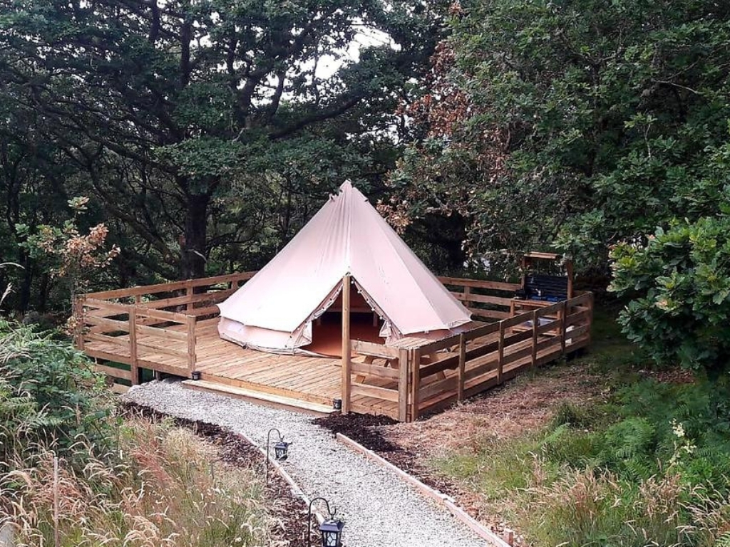 A picture of one of the bell tents at Acorn Wood Glamping, Mayo in the forest