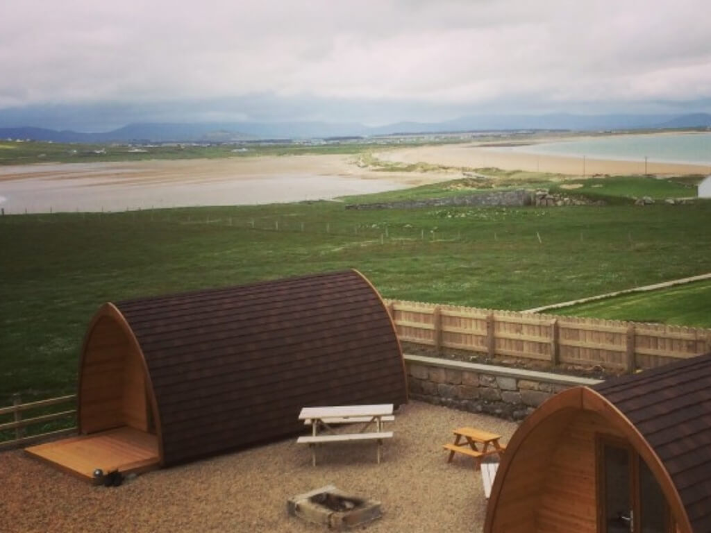A picture of the two glamping pods at Belmullet Coast Guard Station, Mayo