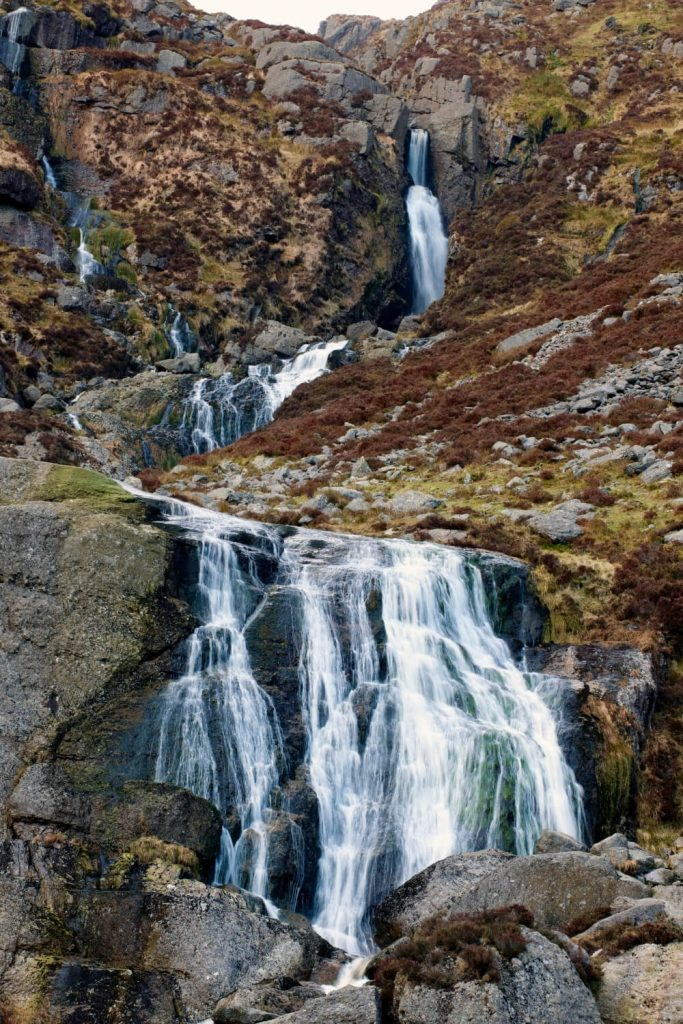 A picture of the milky water of the Mahon waterfall in County Waterford